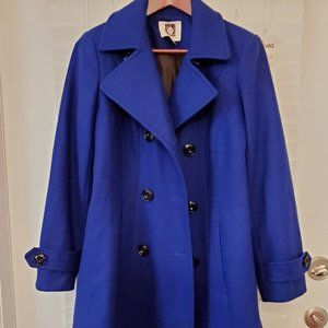Anne Klein Double-Breasted Peacoat Blue